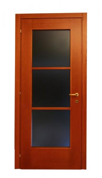 Impiallaciata legno - porta in  tanganica  a vetro  verniciata tinta noce
